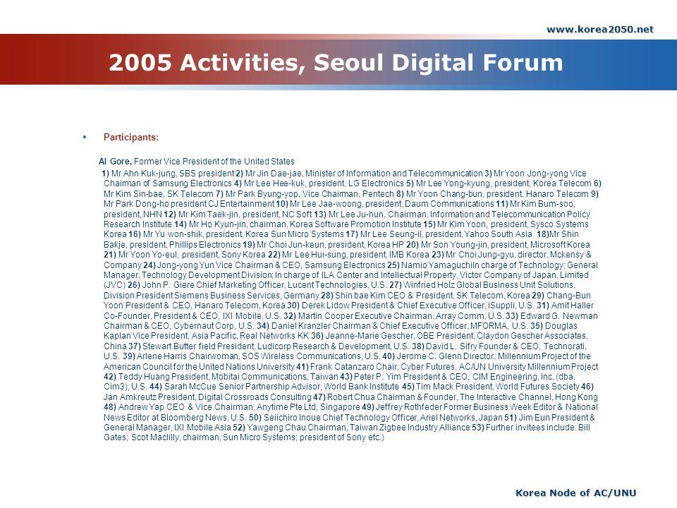2005 Activities, Seoul Digital Forum