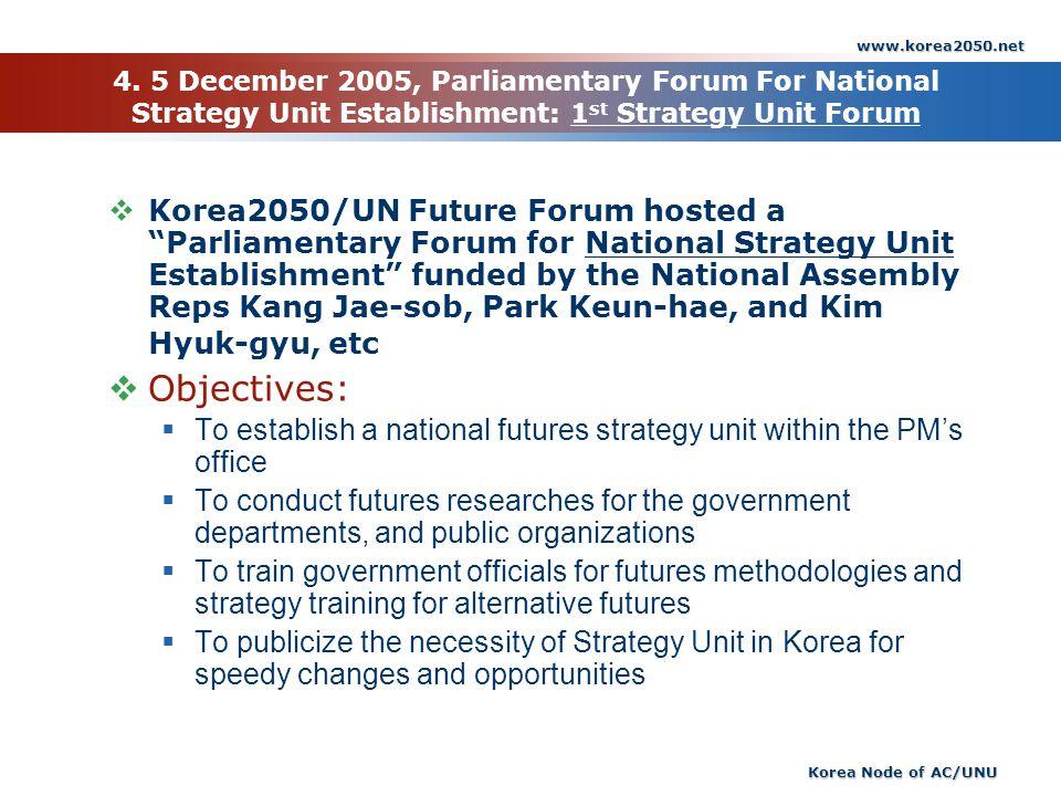 www.korea2050.net 4. 5 December 2005, Parliamentary Forum For National Strategy Unit Establishment: 1st Strategy Unit Forum.