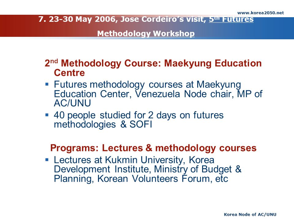 2nd Methodology Course: Maekyung Education Centre
