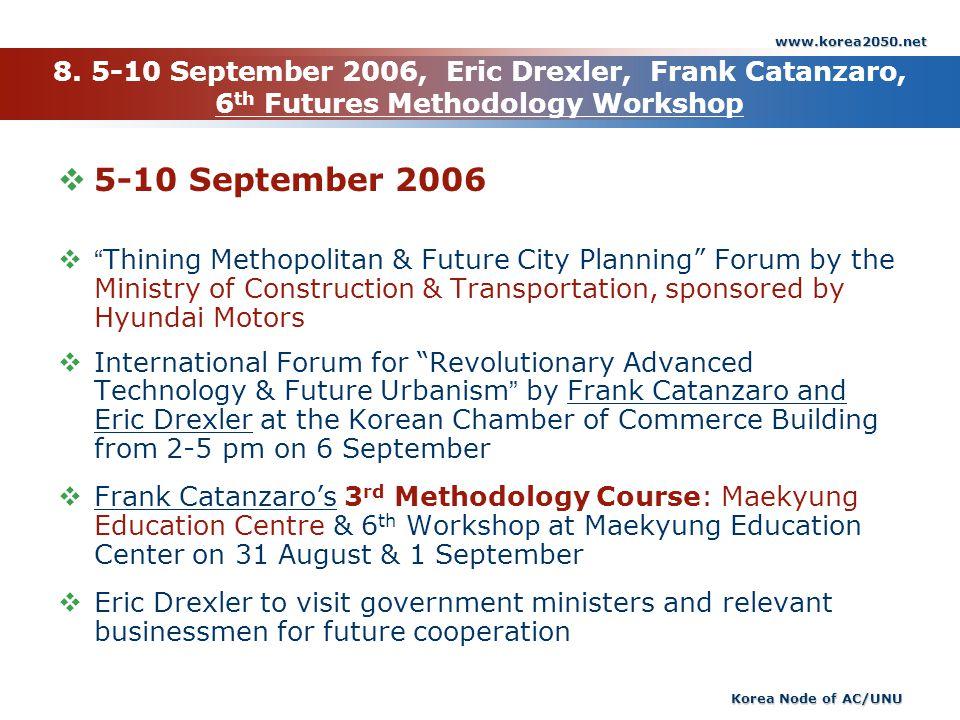 www.korea2050.net 8. 5-10 September 2006, Eric Drexler, Frank Catanzaro, 6th Futures Methodology Workshop.