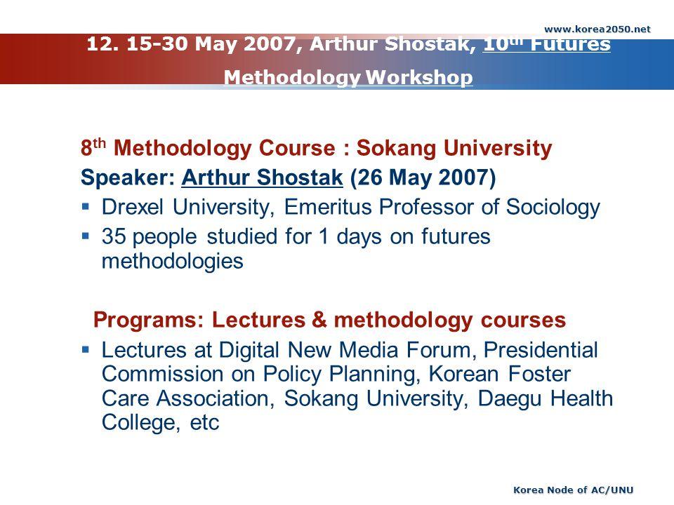 12. 15-30 May 2007, Arthur Shostak, 10th Futures Methodology Workshop