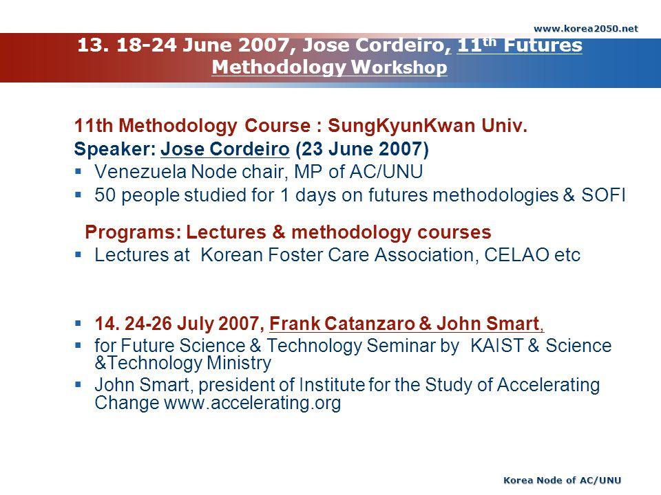 13. 18-24 June 2007, Jose Cordeiro, 11th Futures Methodology Workshop