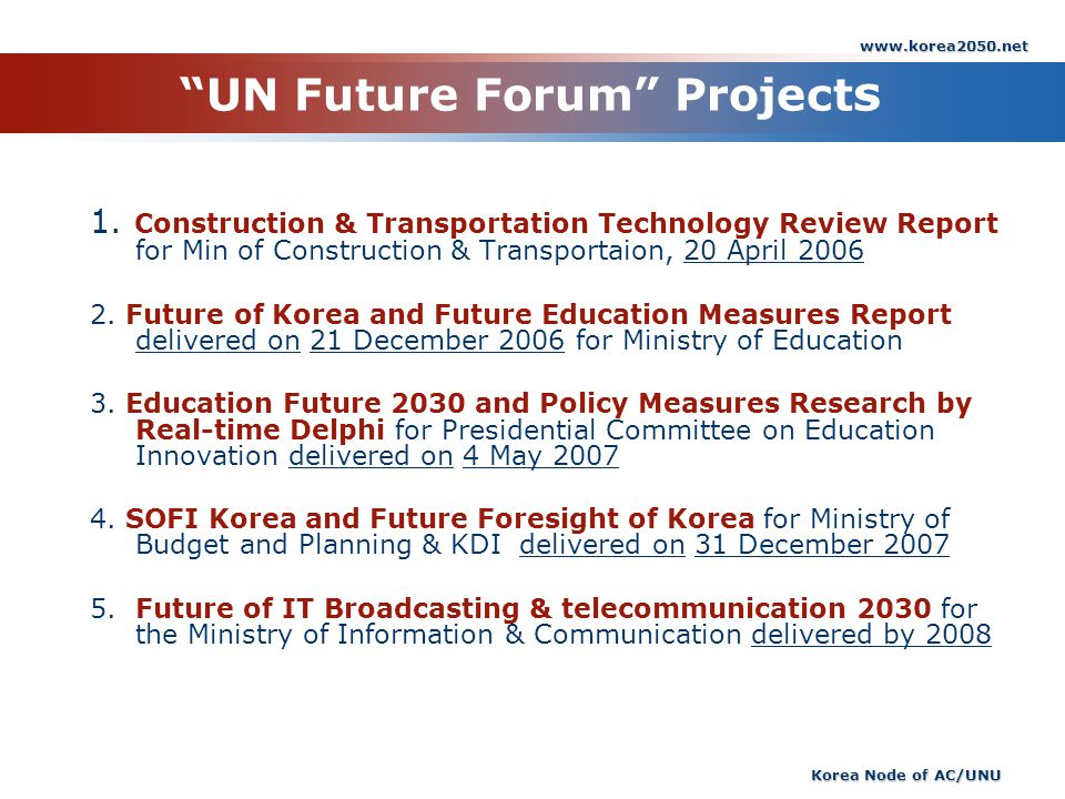 UN Future Forum Projects