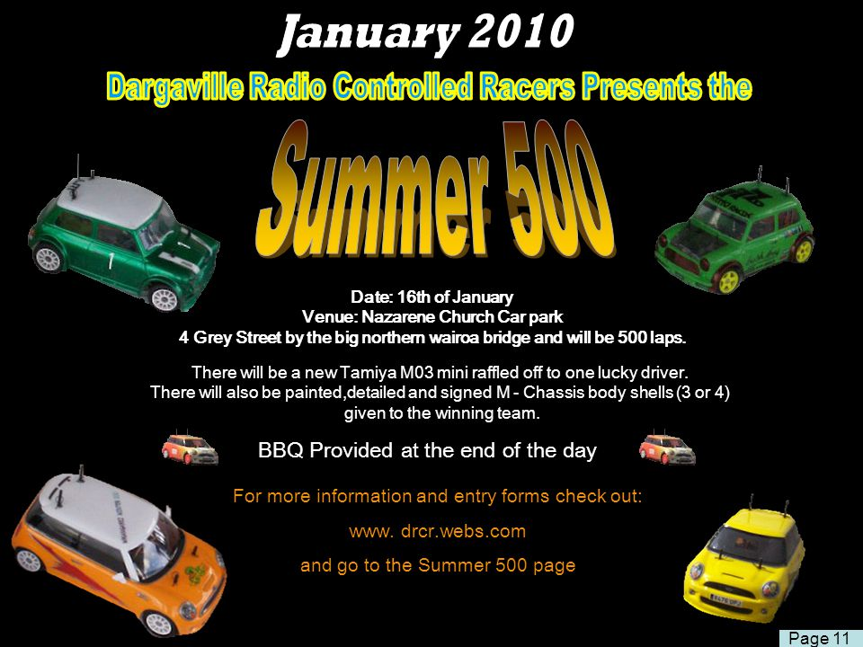 January 2010 Dargaville Radio Controlled Racers Presents the. Summer 500.