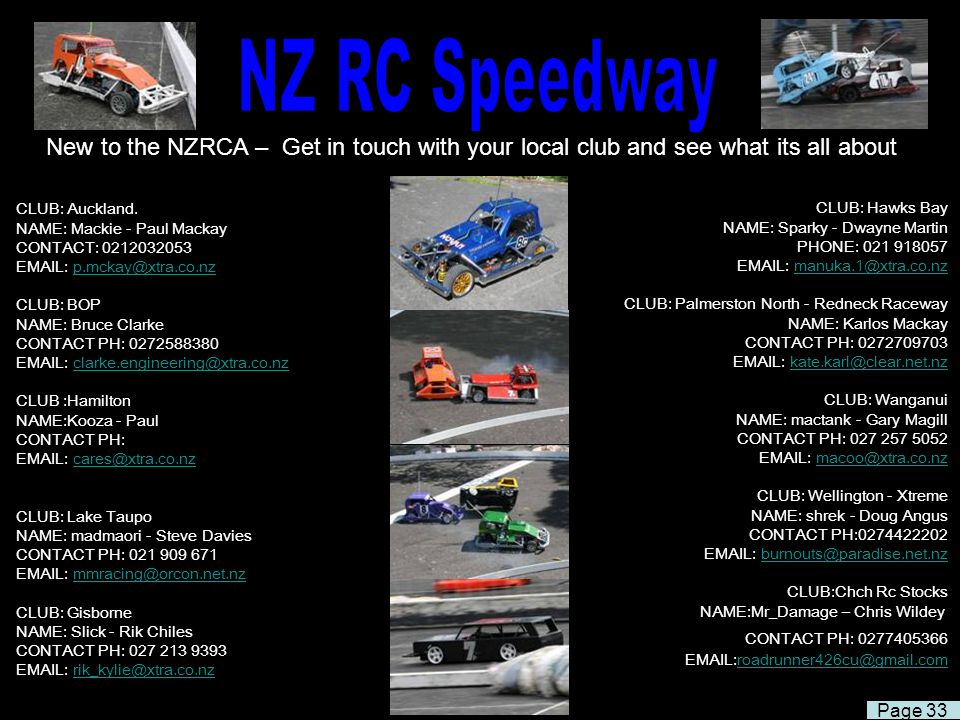 NZ RC Speedway New to the NZRCA – Get in touch with your local club and see what its all about.