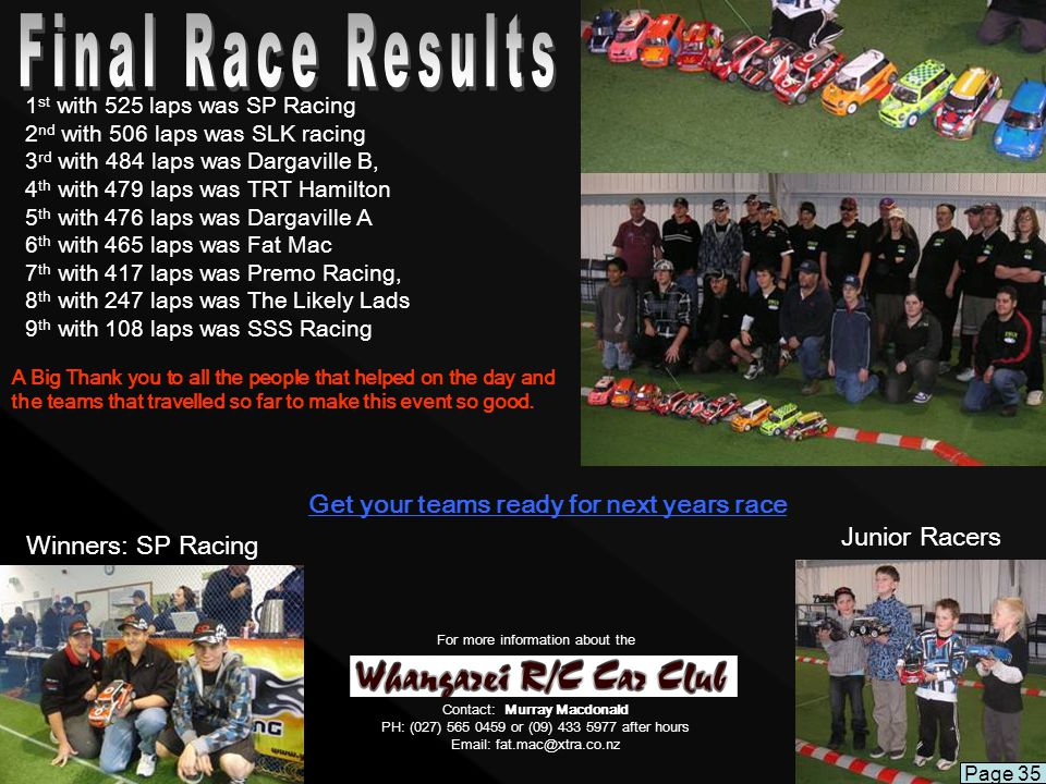 Get your teams ready for next years race