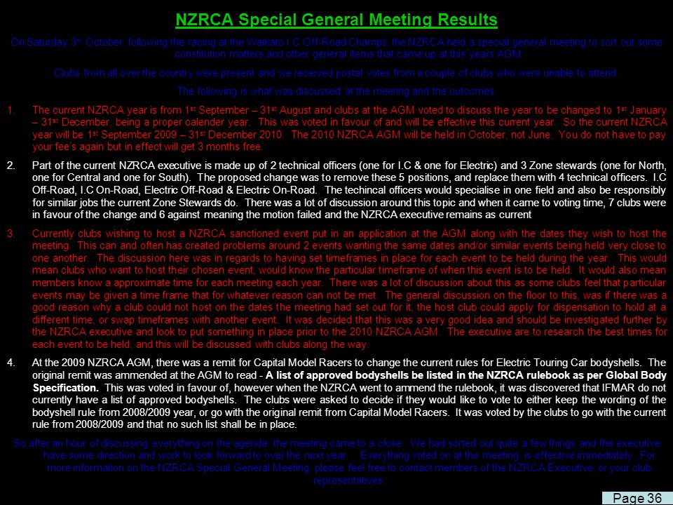 NZRCA Special General Meeting Results