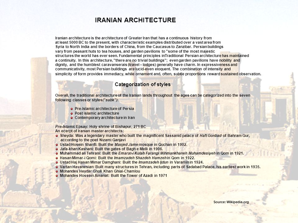 IRANIAN ARCHITECTURE Categorization of styles