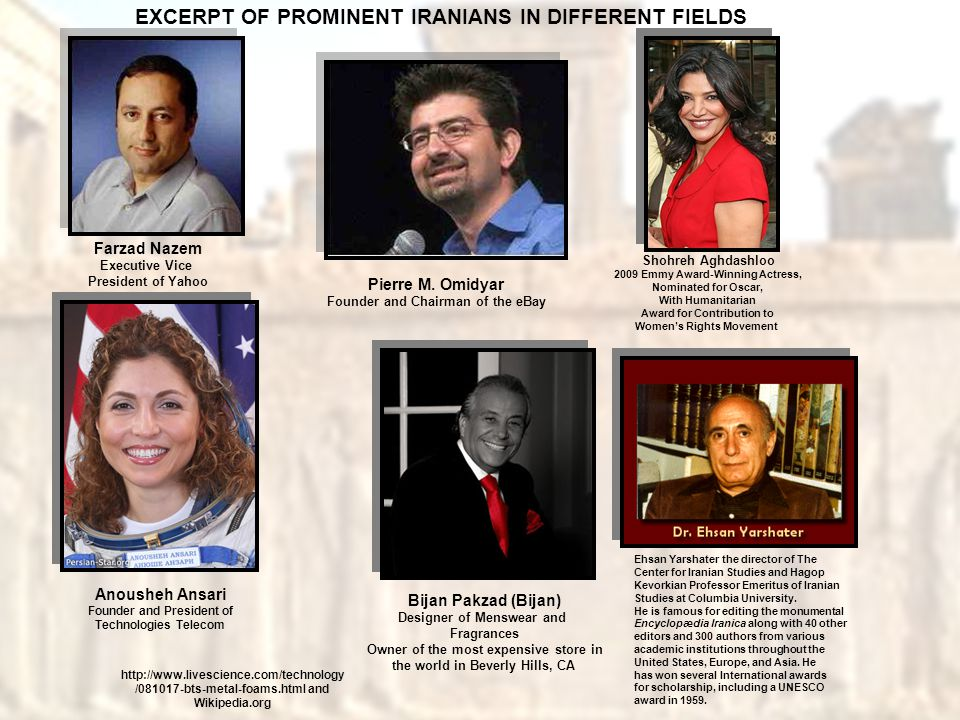 EXCERPT OF PROMINENT IRANIANS IN DIFFERENT FIELDS