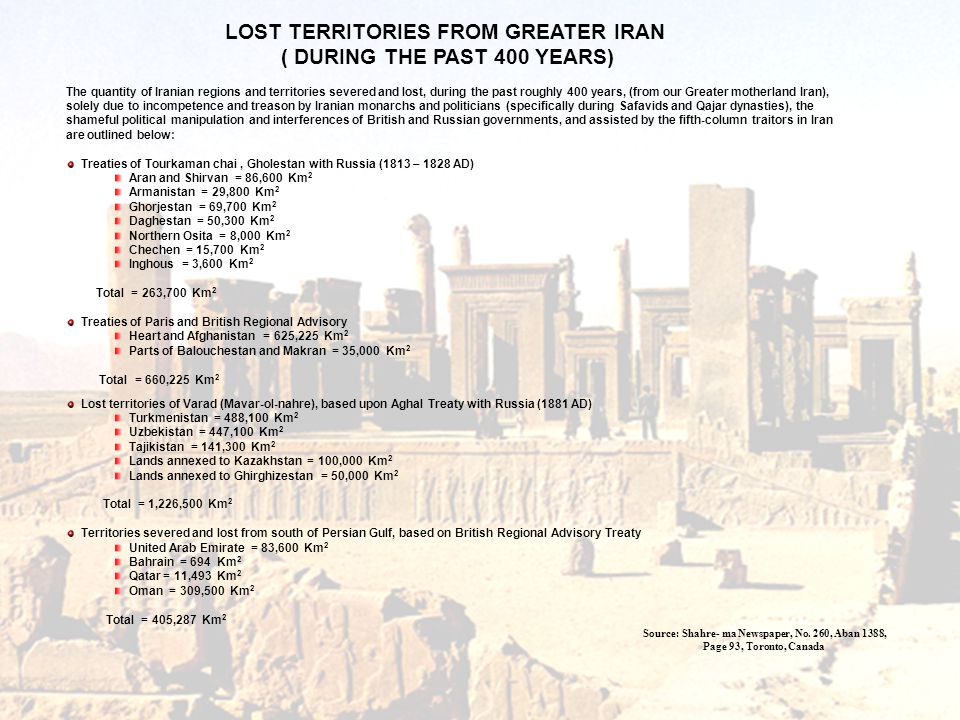 LOST TERRITORIES FROM GREATER IRAN ( DURING THE PAST 400 YEARS)