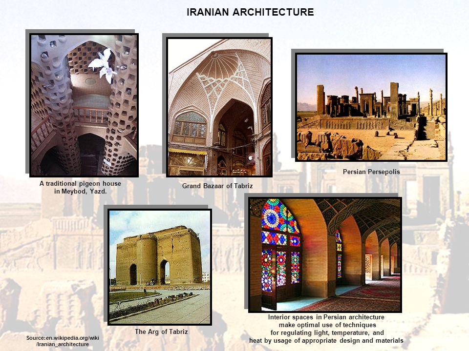 IRANIAN ARCHITECTURE Persian Persepolis A traditional pigeon house