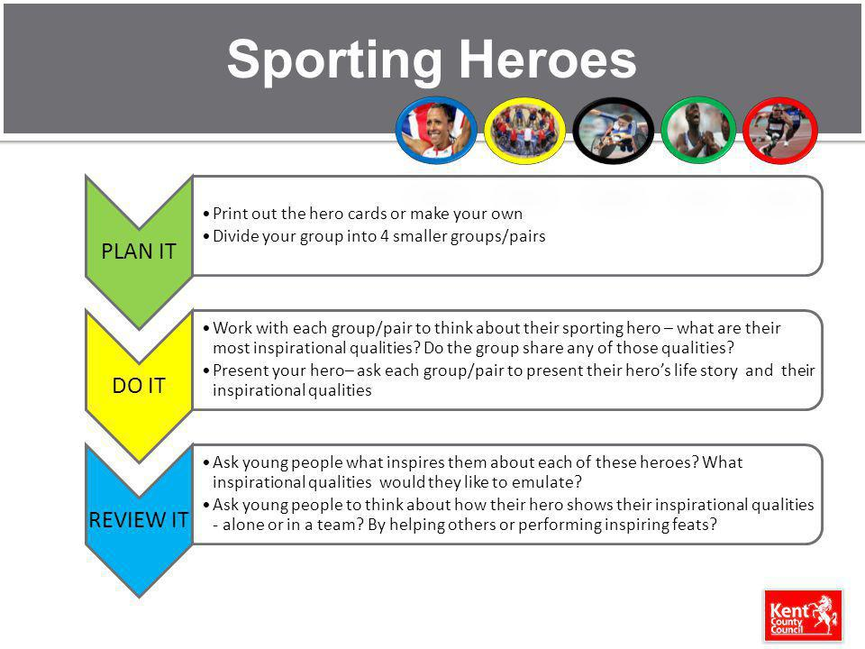 Sporting Heroes PLAN IT Print out the hero cards or make your own