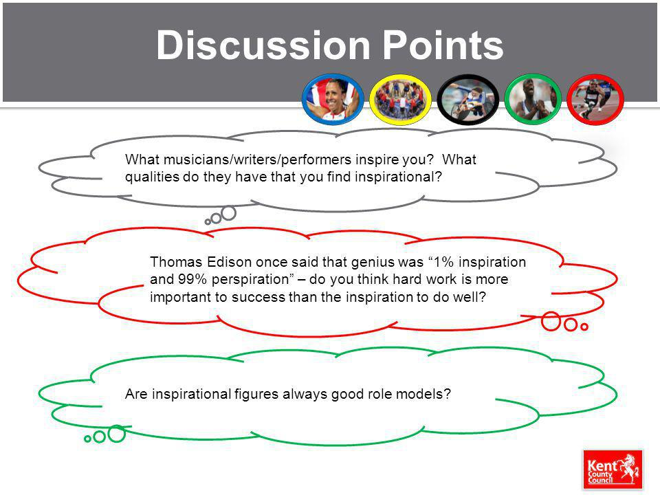 Discussion Points What musicians/writers/performers inspire you What qualities do they have that you find inspirational