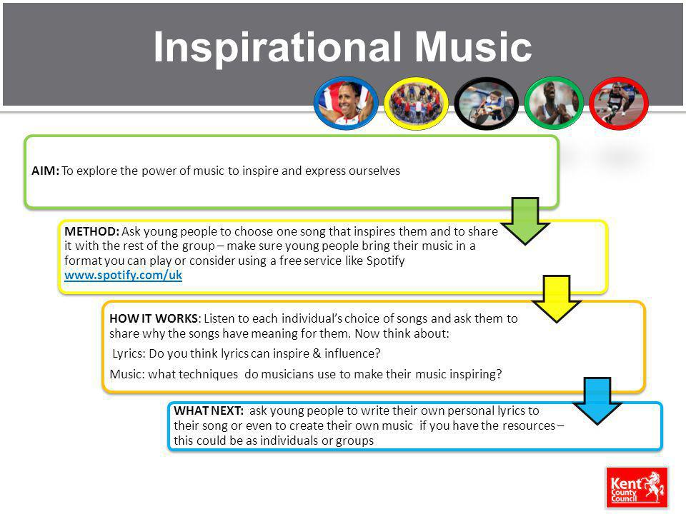 Inspirational Music AIM: To explore the power of music to inspire and express ourselves.