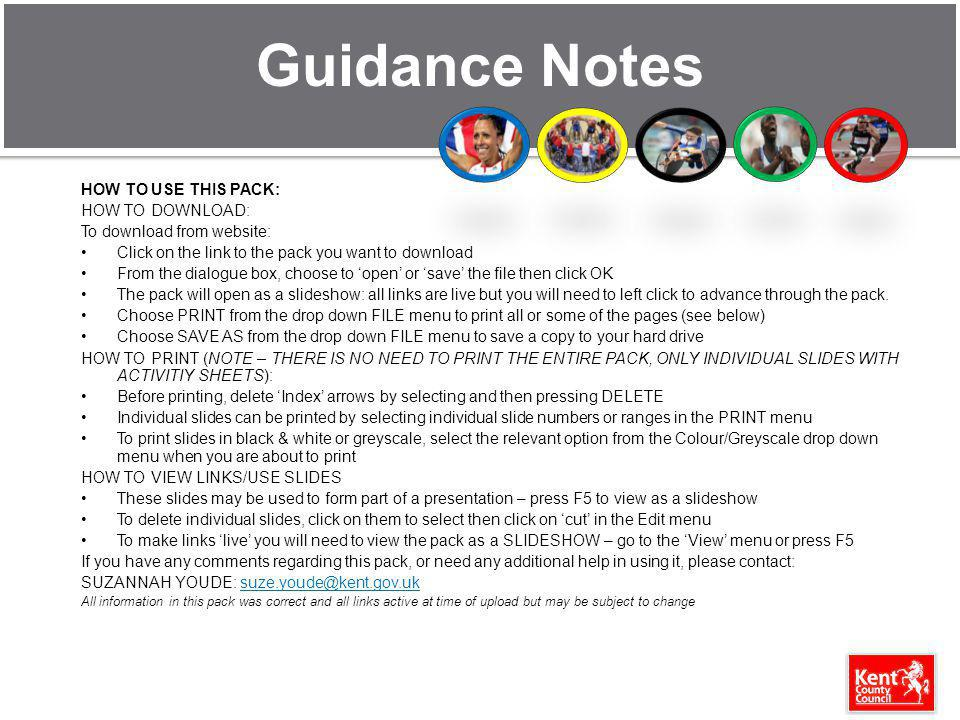 Guidance Notes HOW TO USE THIS PACK: HOW TO DOWNLOAD: