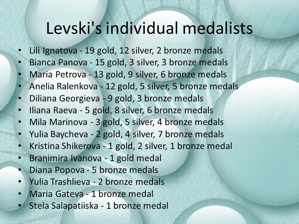 Levski s individual medalists