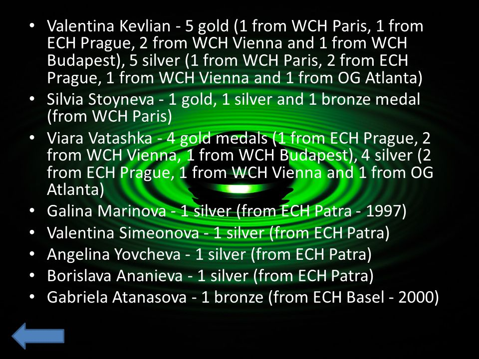 Valentina Kevlian - 5 gold (1 from WCH Paris, 1 from ECH Prague, 2 from WCH Vienna and 1 from WCH Budapest), 5 silver (1 from WCH Paris, 2 from ECH Prague, 1 from WCH Vienna and 1 from OG Atlanta)