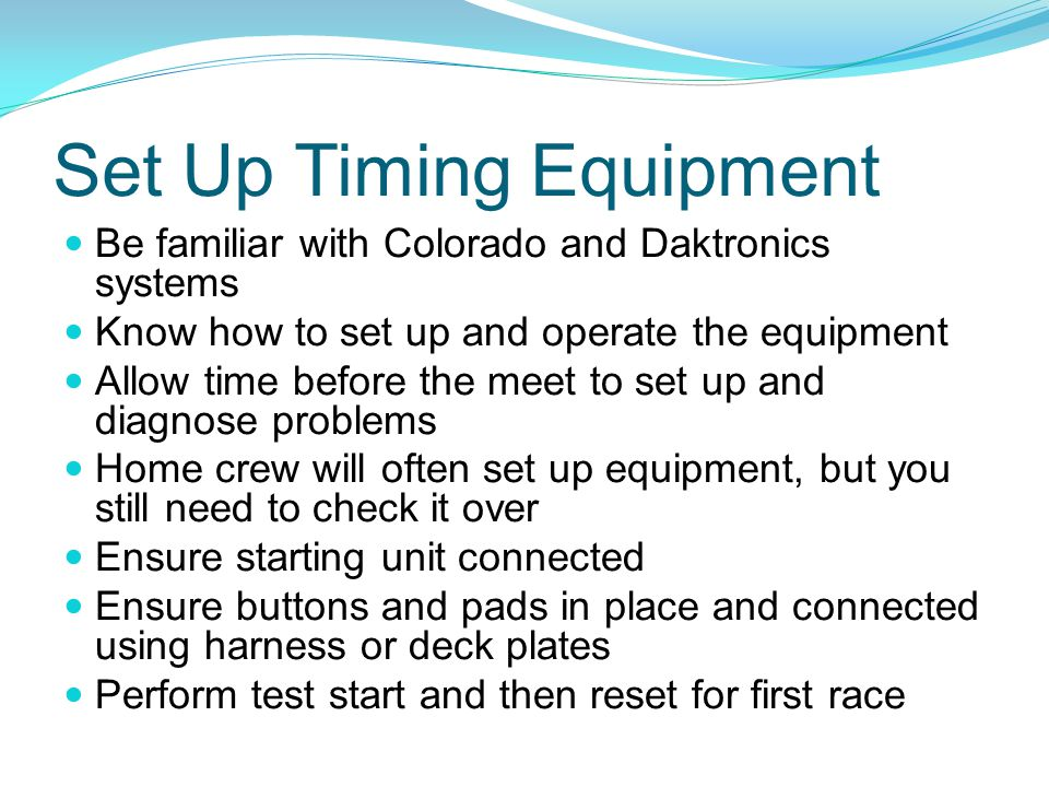 Set Up Timing Equipment