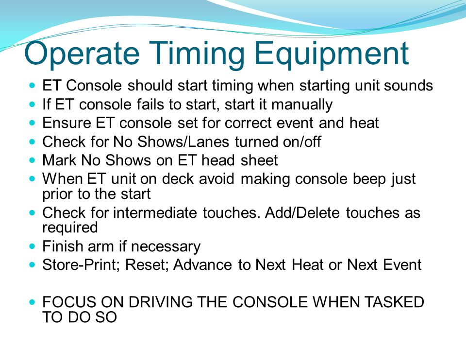 Operate Timing Equipment
