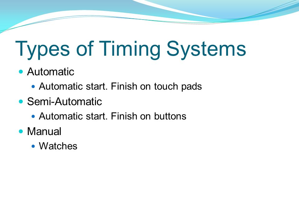 Types of Timing Systems