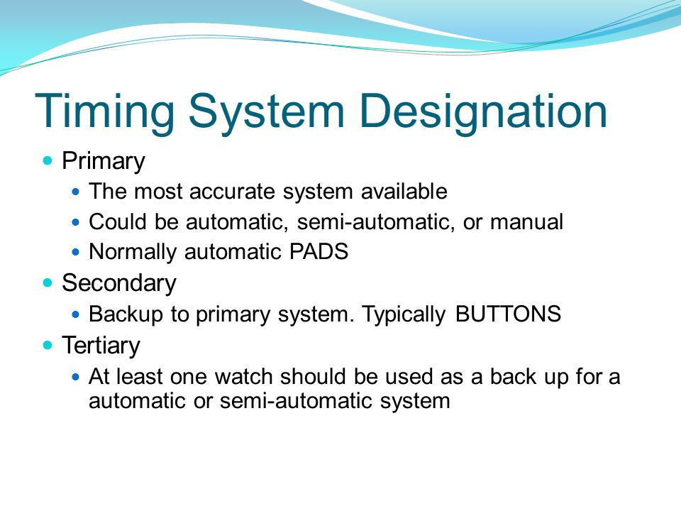 Timing System Designation