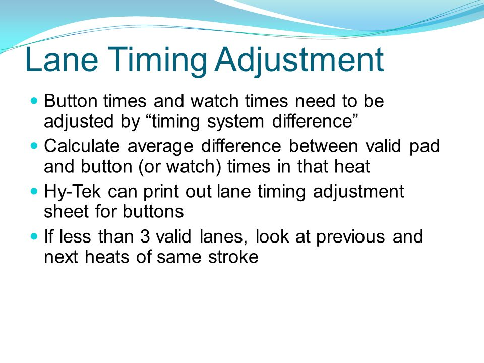 Lane Timing Adjustment