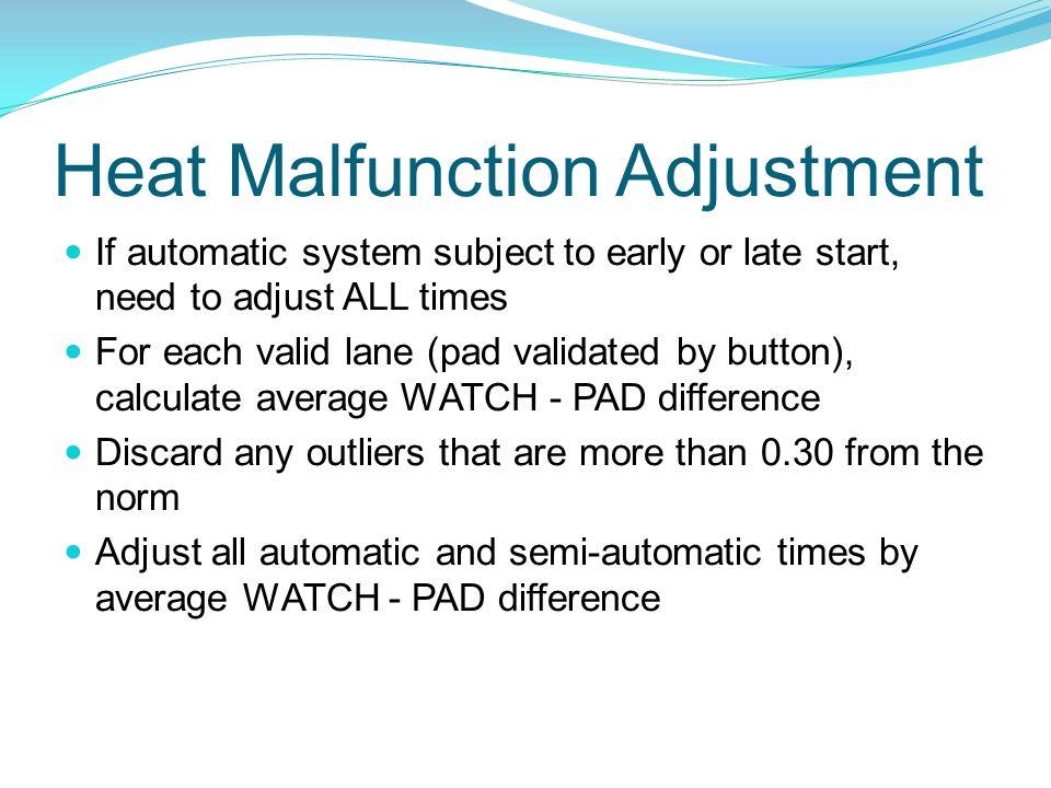 Heat Malfunction Adjustment