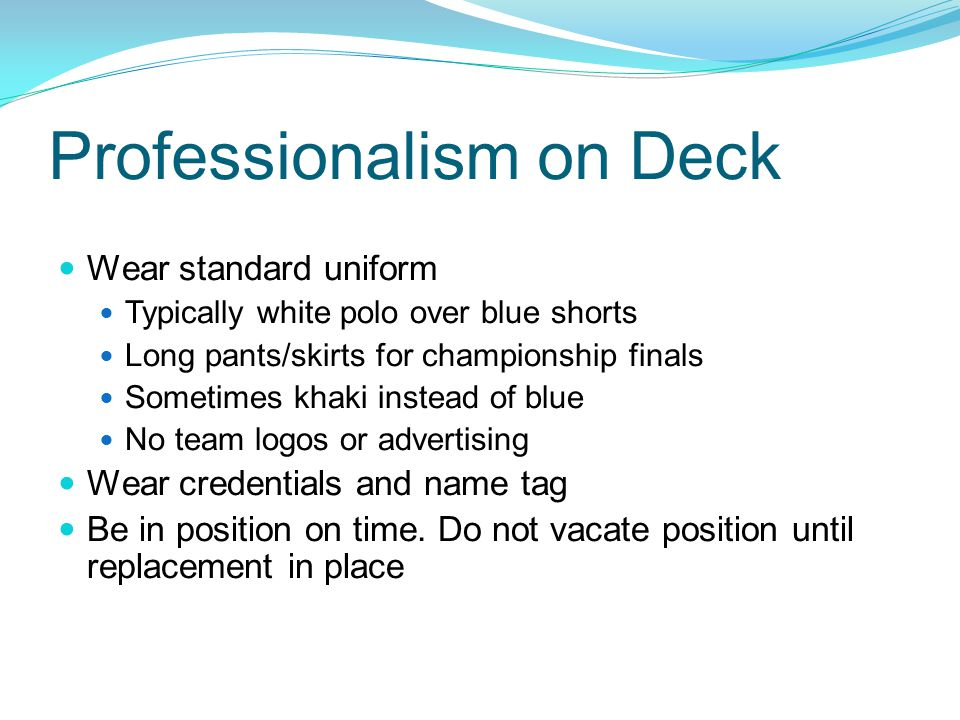 Professionalism on Deck