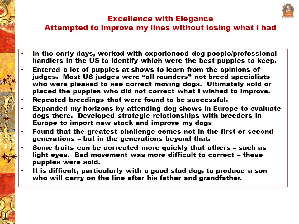 Excellence with Elegance Attempted to improve my lines without losing what I had