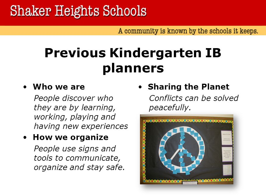 Previous Kindergarten IB planners