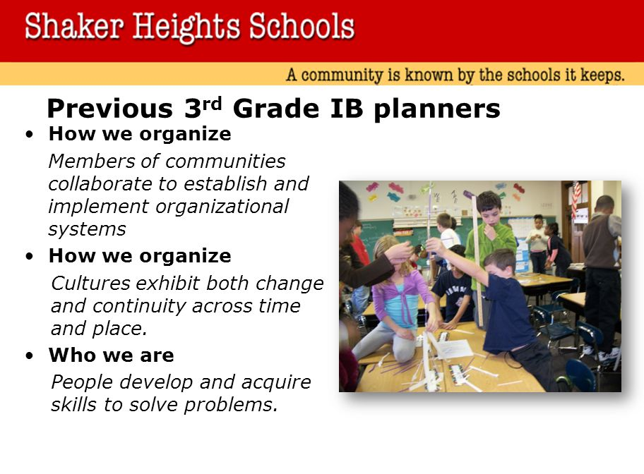 Previous 3rd Grade IB planners