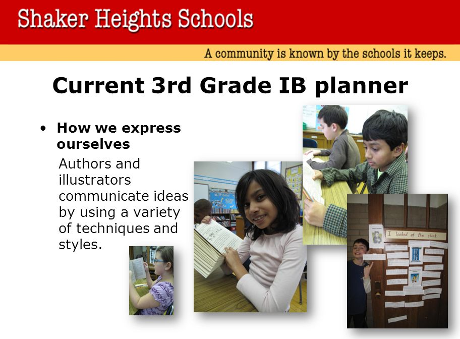 Current 3rd Grade IB planner