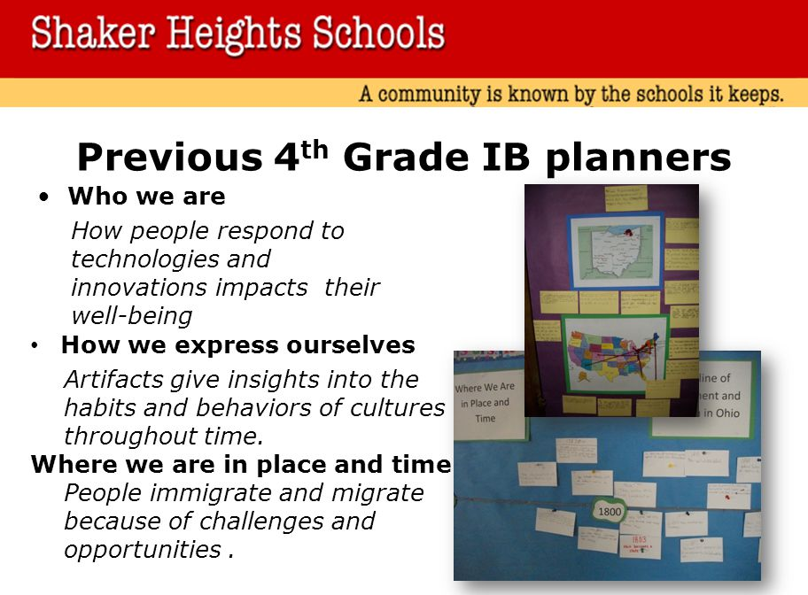 Previous 4th Grade IB planners