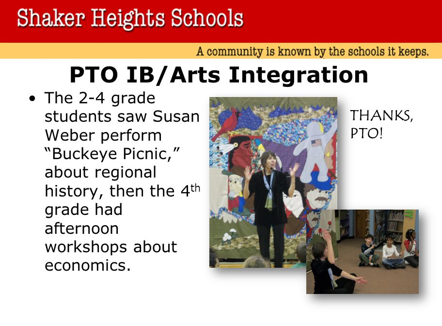 PTO IB/Arts Integration