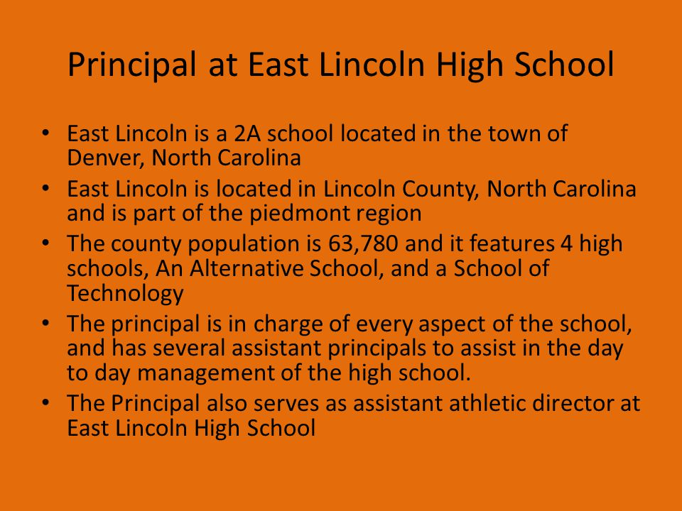 Principal at East Lincoln High School