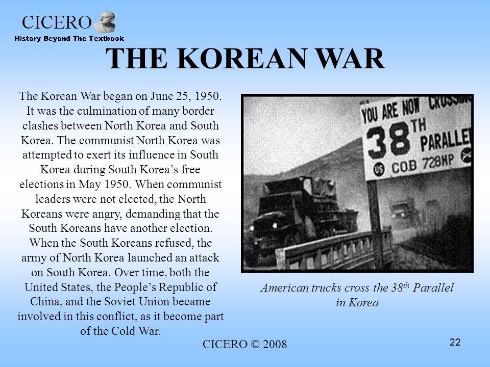 American trucks cross the 38th Parallel in Korea