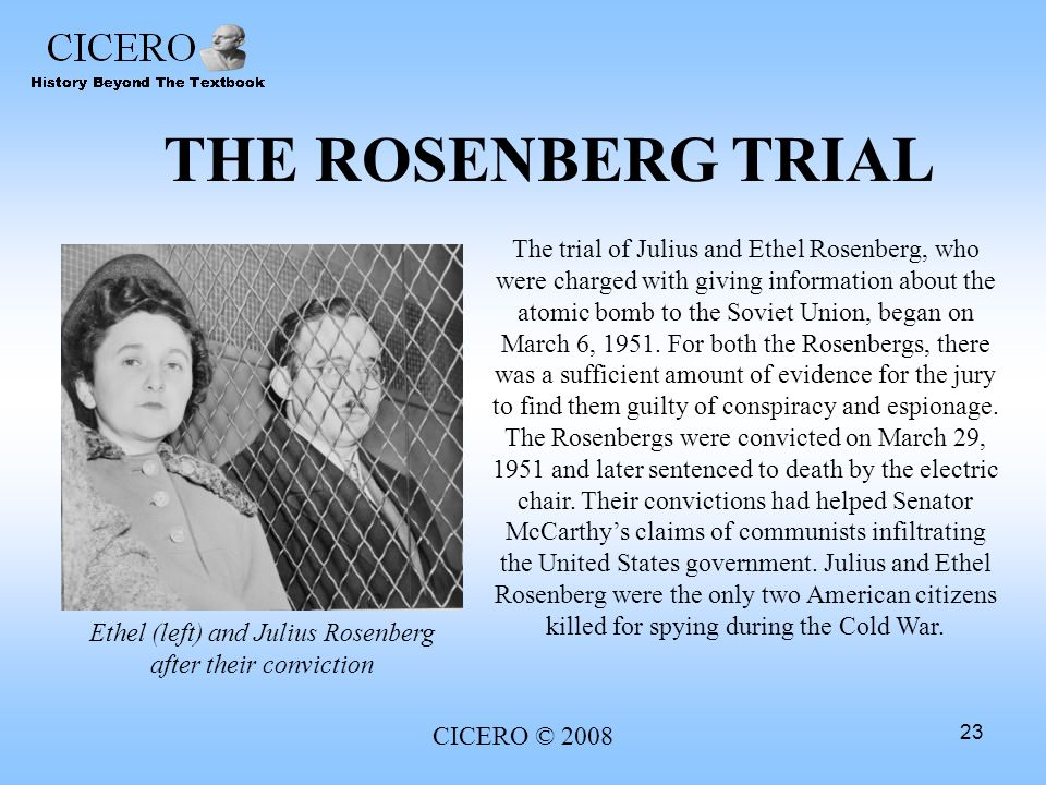 Ethel (left) and Julius Rosenberg after their conviction