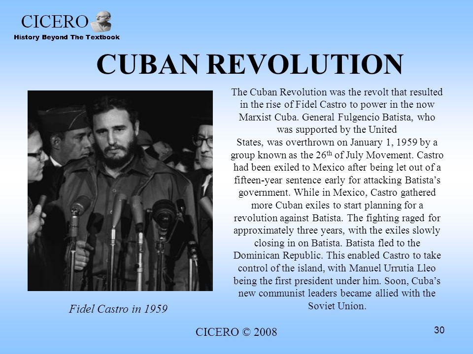 CUBAN REVOLUTION Fidel Castro in 1959 CICERO © 2008
