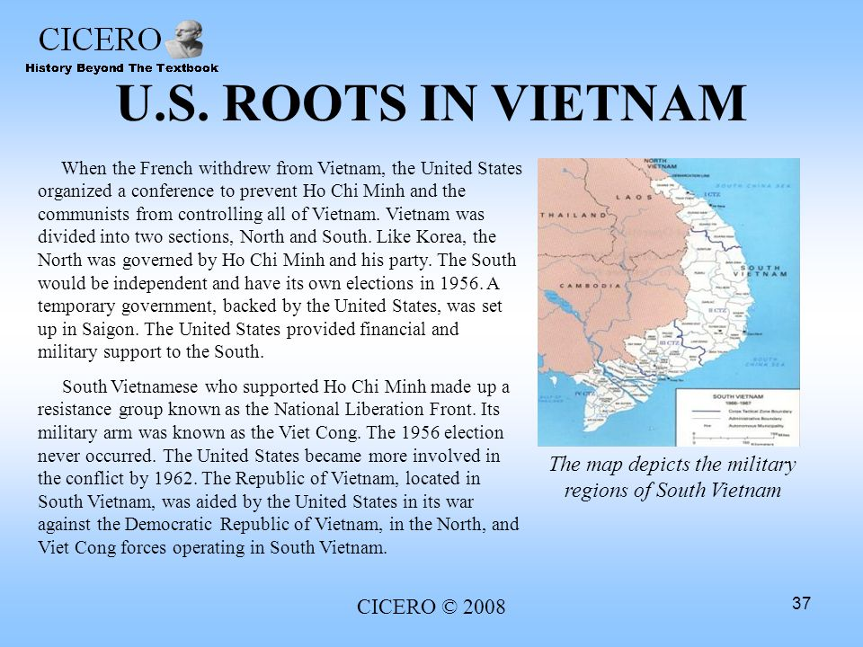 The map depicts the military regions of South Vietnam