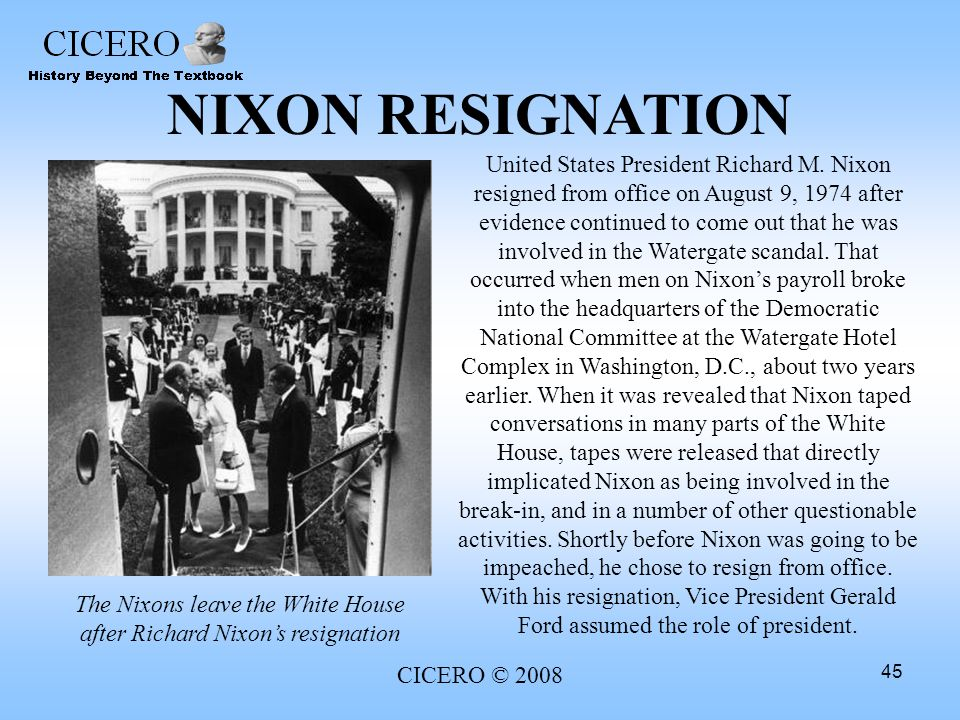 The Nixons leave the White House after Richard Nixon's resignation