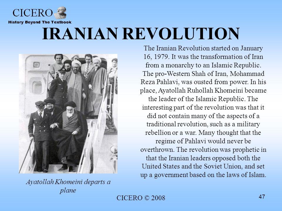 Ayatollah Khomeini departs a plane