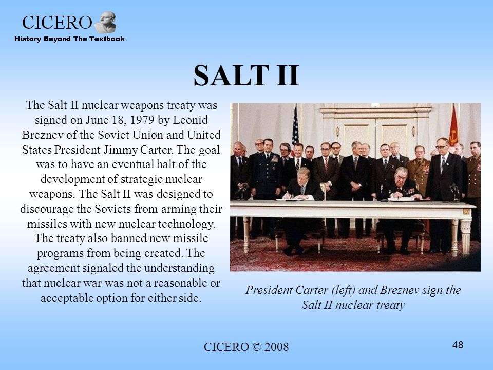 President Carter (left) and Breznev sign the Salt II nuclear treaty