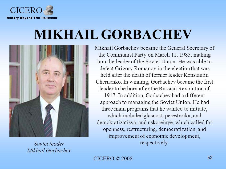 Soviet leader Mikhail Gorbachev