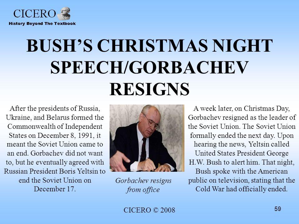 BUSH'S CHRISTMAS NIGHT SPEECH/GORBACHEV RESIGNS