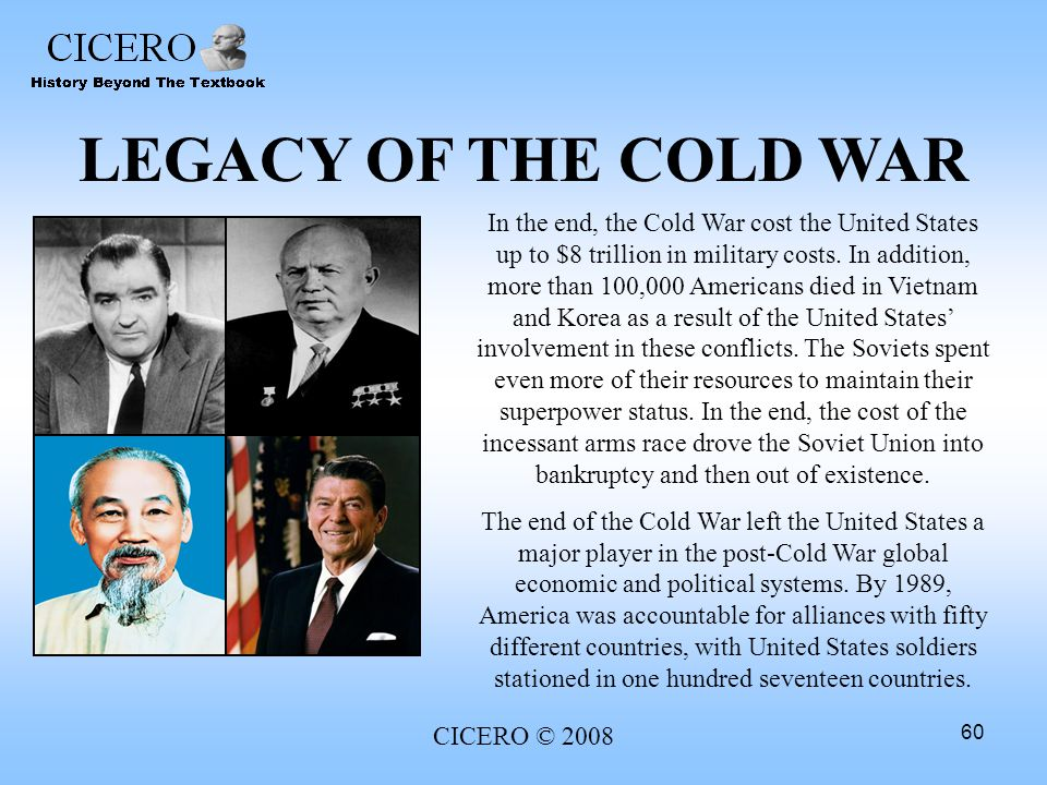 legacy of the cold war The americal legacy calendar for 2017 covers not only our nation's national holidays and observances but is rich with many notations  the cold war and the.