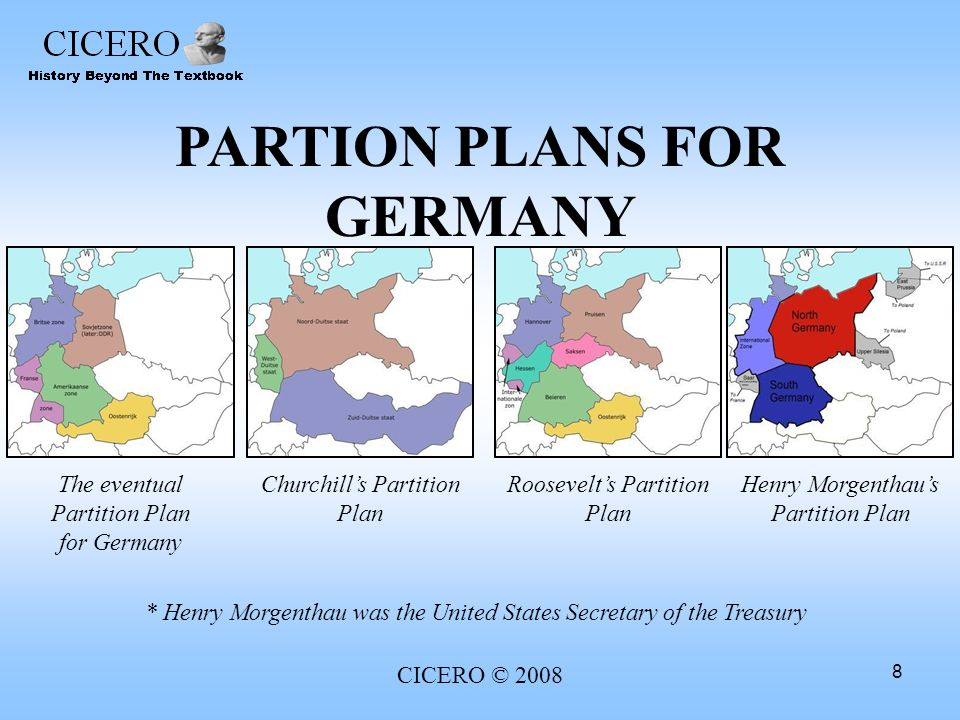 PARTION PLANS FOR GERMANY