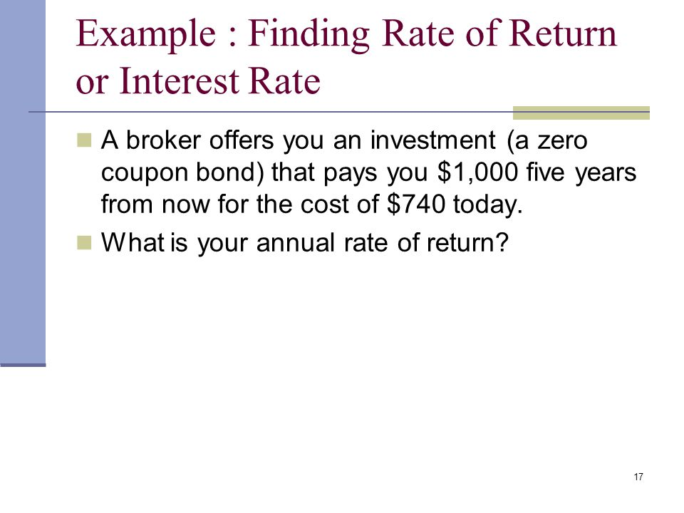 Example : Finding Rate of Return or Interest Rate
