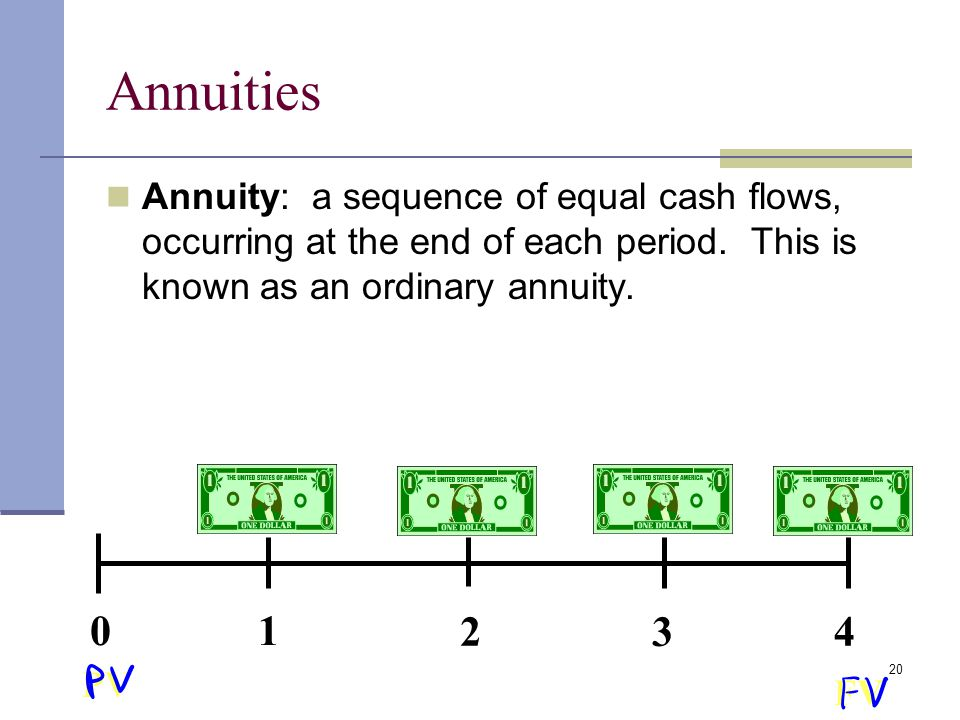 Annuities Annuity: a sequence of equal cash flows, occurring at the end of each period. This is known as an ordinary annuity.