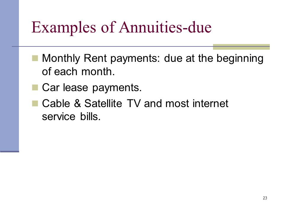 Examples of Annuities-due