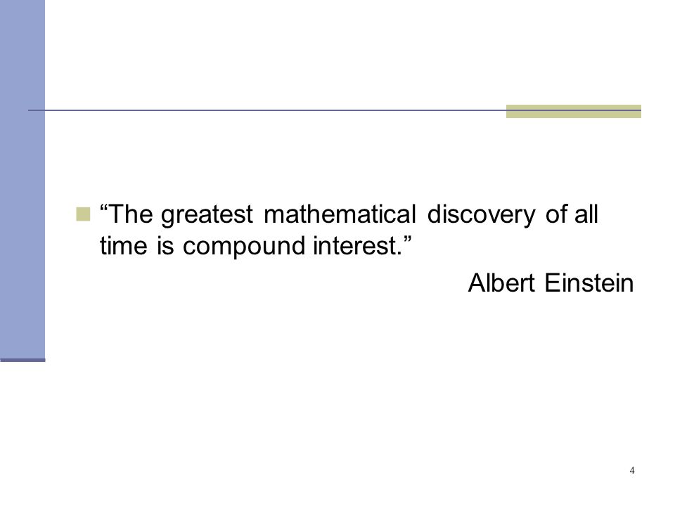The greatest mathematical discovery of all time is compound interest